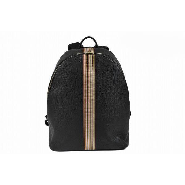 ポールスミス バッグ リュックサック メンズ Paul Smith レザー Mストライプ ブラック 男性 紳士 本革 送料無料 PSN494