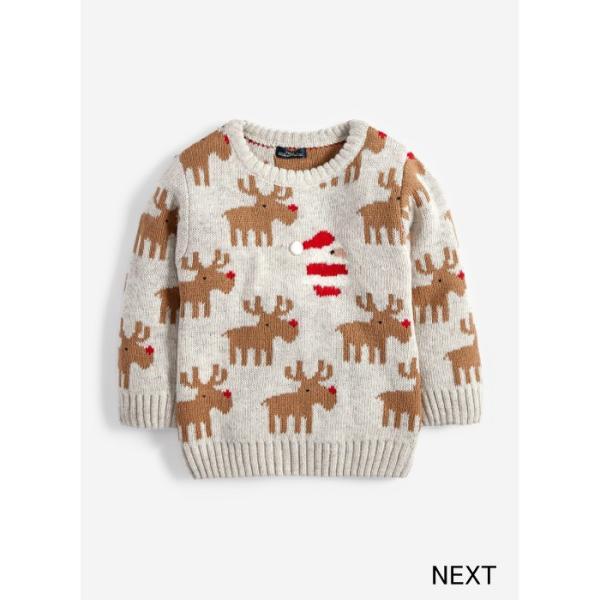 ネクスト ベビー NEXT ベージュ クリスマス トナカイ サンタクロース セーター ニット 長袖 子供服 ベビー服 パジャマ 男の子 女の子 ユニセックス ベビーウェア|ssshop