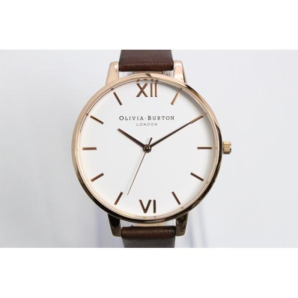 Olivia Burton オリビアバートン レディース WHITE DIAL チョコレート & ローズゴールド 腕時計 ビッグダイアル シンプル 本革 レザー ウォッチ クオ