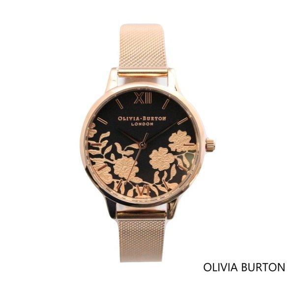 Olivia Burton オリビアバートン レディース  レース ディティ―ル ブラック ダイアル ローズゴールド メッシュ 腕時計 ブレスレット ステンレススチー