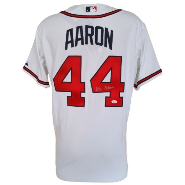 on sale 4d5c9 a847e Hank Aaron Signed Atlanta Braves White Authentic Majestic ...