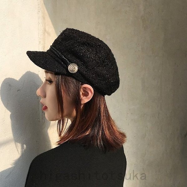キャスケット帽帽子レディースキャスケットキャップつば付きuvカットマリン帽小顔防寒ハットベレー帽飛ばない秋冬