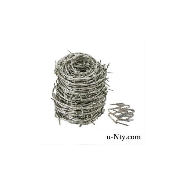 有刺鉄線 線径 1.6mm 長さ 20m 又釘10本付 ステンレス製 バーブドワイヤー バラ線 防犯対策 侵入防止柵