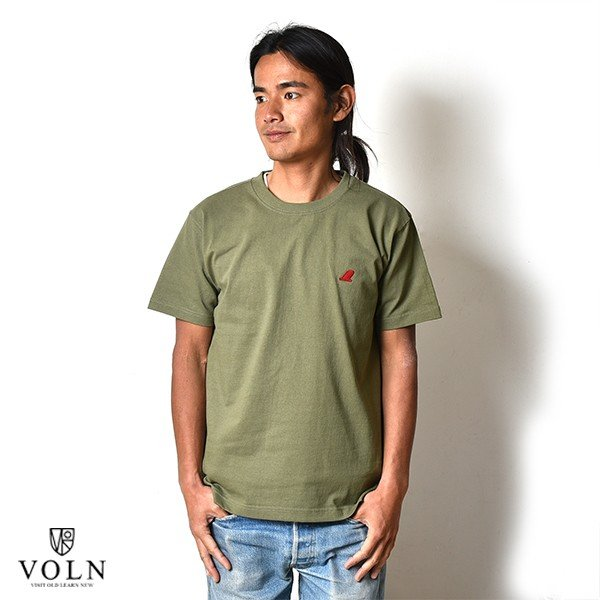 VOLN / CREW NECK T-SHIRT / RED FIN / LIGHT OLIVE|standardstore|02