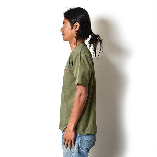 VOLN / CREW NECK T-SHIRT / RED FIN / LIGHT OLIVE|standardstore|03