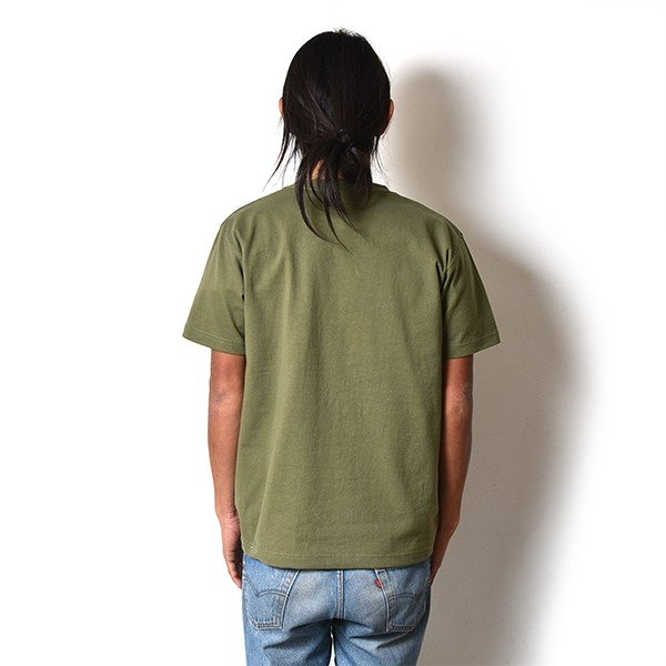 VOLN / CREW NECK T-SHIRT / RED FIN / LIGHT OLIVE|standardstore|04