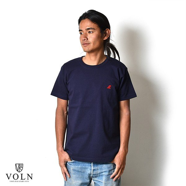 VOLN / CREW NECK T-SHIRT / RED FIN / NAVY|standardstore|02