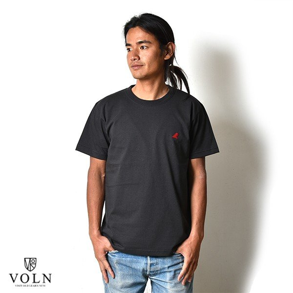 VOLN / CREW NECK T-SHIRT / RED FIN / SUMI BLACK|standardstore|02