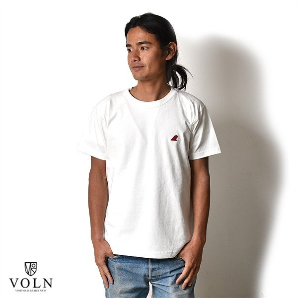 VOLN / CREW NECK T-SHIRT / RED FIN / WHITE|standardstore|02