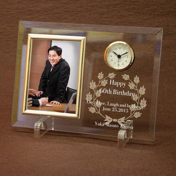 「ガラス製フォトフレーム置き時計」オリジナル時計  名入れ 出産祝い 内祝い 新築祝い 結婚祝い 贈り物 父の日 ギフト|starkids|02