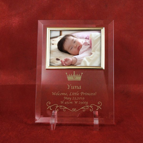 ベビー メモリアル フォトフレーム「 我が家のロイヤルベビーフォトフレーム」 出産祝い 出産内祝い メモリアル 記念品 名入れ 写真L判用|starkids