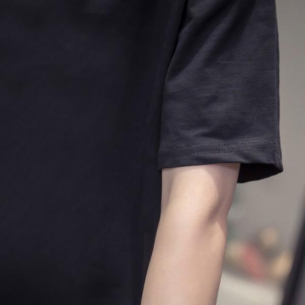 Tシャツ レディース サイドスリット 無地 ロング丈 ロンティー 半袖 カットソー トップス プルオーバー ラウンドネック 春 夏 送料無料|starlandsports|17