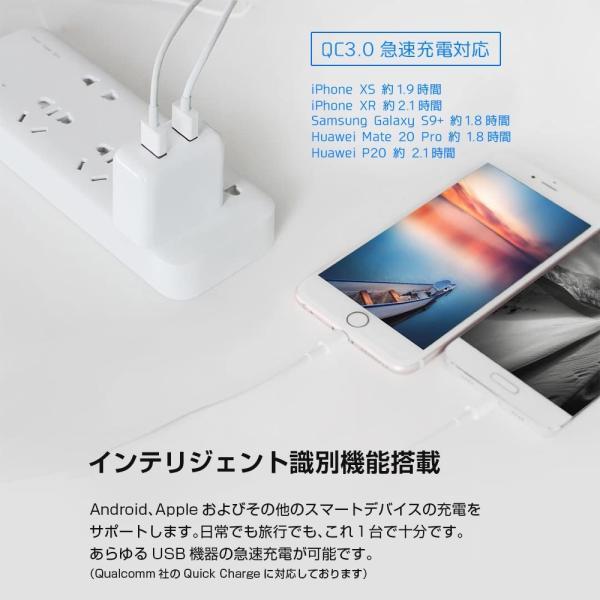 ZMI USB急速充電器 2ポート 18W 3.6A ACアダプタ コンセント PSE認証済み QC3.0対応 折畳式プラグ 超コンパクトサイト ZMI 正規代理店品 18ヶ月保証 HA622|starq-online|06