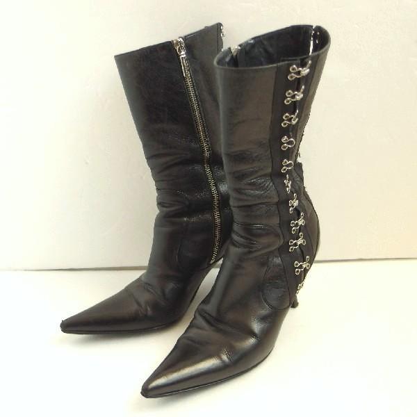 サイズ確認DOLCE&GABBANA(ドルチェ&ガッバーナ) ショートブーツ ブラック フック1812Bレディース2/18中古あす楽