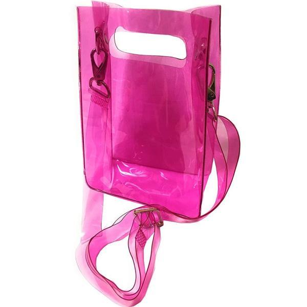 透明ビニールバッグ トート ショルダーバッグ 防水 透明 PVC バッグ 斜めかけ 手提げ スクエア レディース ハンドバッグ|startside