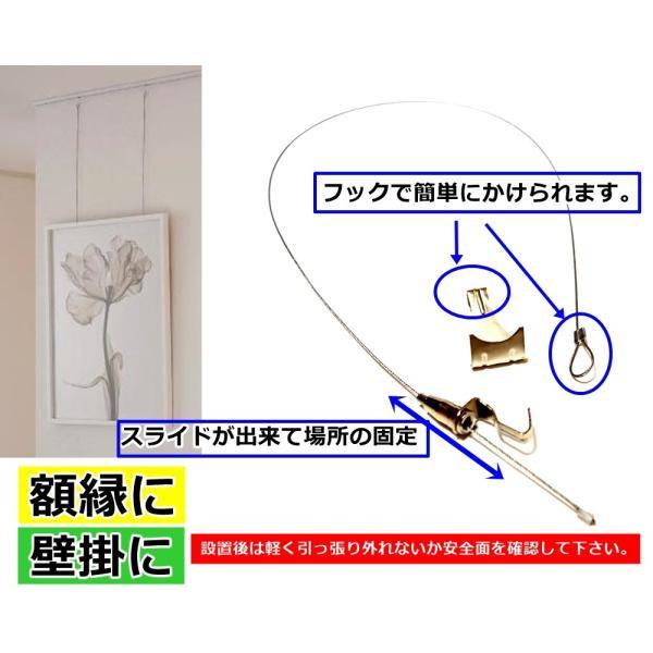 ピクチャー レール用 ワイヤーフック 金具 ポスター 額縁 壁掛け ワイヤーセット 銀 1.0m×10本セット|startside|07