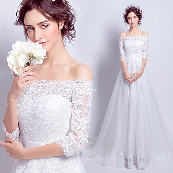 b36ab3300c8e78 ウエディングドレス 長袖 安い 結婚式 花嫁 二次会 パーティードレス ホワイト ロングドレス aライン ウェディング ...