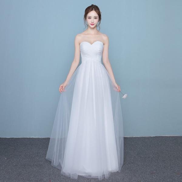 c7bf52bed6d56 ウエディングドレス ロング 花嫁 ドレス 結婚式 白 ワンピース 二次会 パーティードレス aライン ウェディングドレス ...