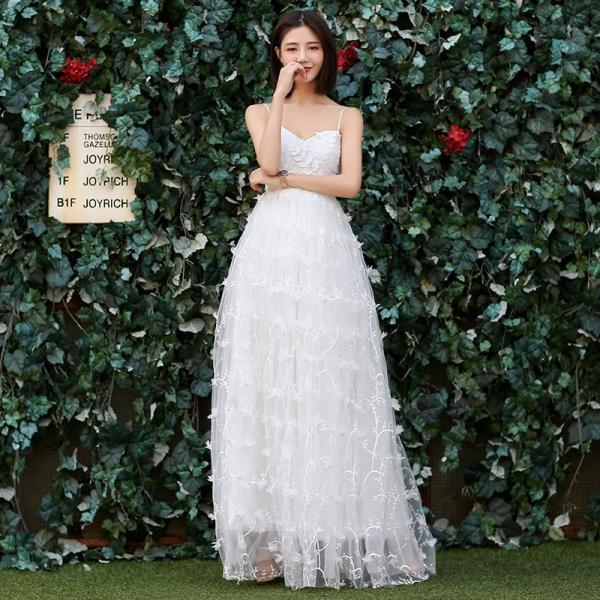 098c476c93ff4 ウエディングドレス aライン 白 ワンピース ブライダル ウェディングドレス ロング 花嫁 結婚式 パーティードレス 二次会 ...