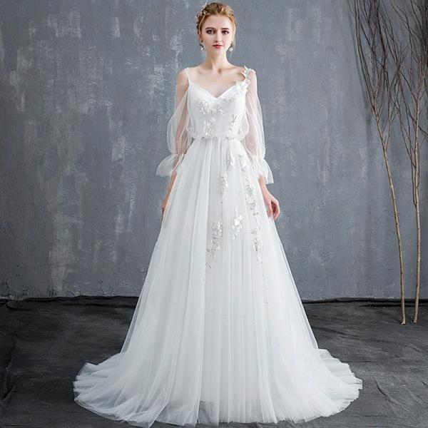 ffe8e21bca55e ウエディングドレス aライン 安い 長袖 白 ウェディングドレス ロング 花嫁 結婚式 パーティードレス 二次会 ...