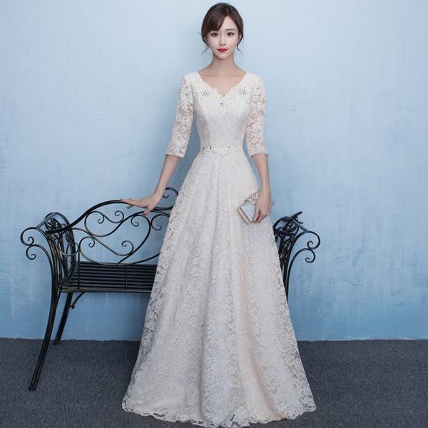 e26540f786214 ウエディングドレス aライン 白 格安 袖あり レース ウェディングドレス 花嫁 結婚式 パーティードレス ...