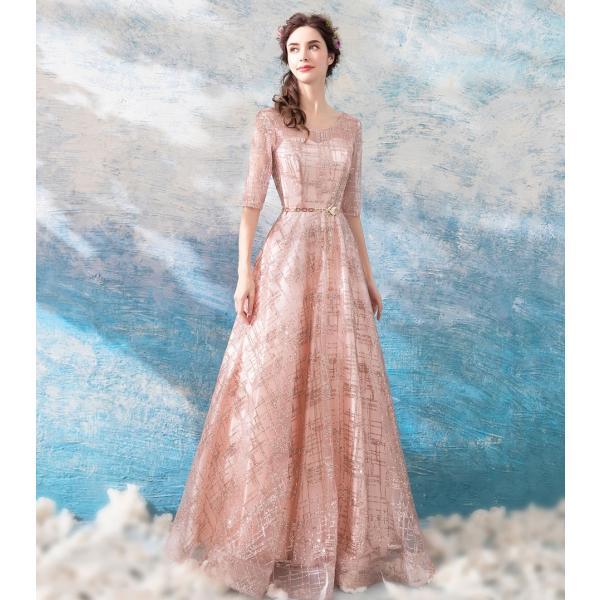 カラードレス 発表会 安い 半袖 ピンク イブニングドレス 二次会 ロングドレス 演奏会 パーティードレス 結婚式 カクテルドレス 披露宴 サッシュベルト