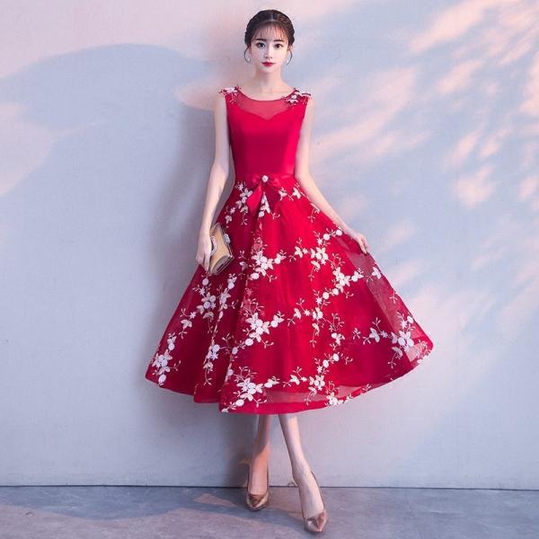 53013e21b3241 パーティードレス 演奏会 カラードレス 結婚式 安い 花嫁 赤 ミニドレス 披露宴 イブニングドレス ...