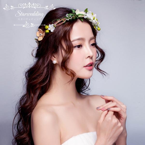 花冠 ウェディング 格安 ヘアアクセサリー 花かんむり 結婚式 花輪 ヘッドドレス 二次会 ブライダル ティアラ 子供花冠 頭飾り