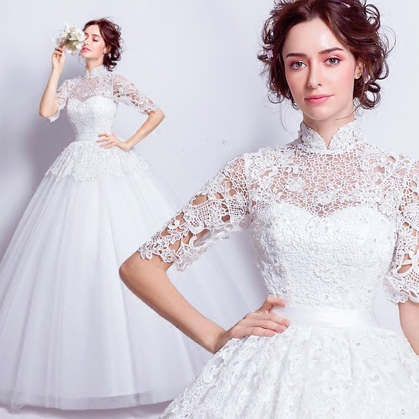 09fcf29c027f8 ブライダル 花嫁 ウェディングドレス 安い 五分袖 結婚式 ウエディングドレス ホワイト ロングドレス 二次会 ...
