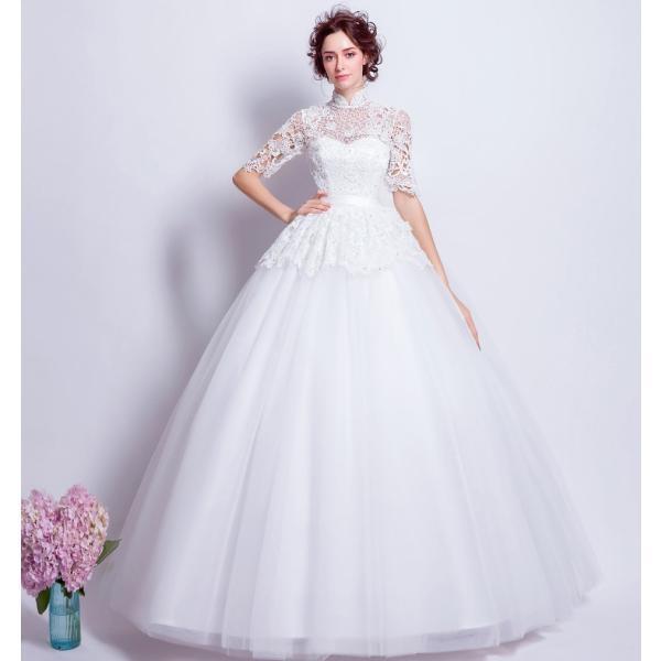 6ab86162c47d2 ... ブライダル 花嫁 ウェディングドレス 安い 五分袖 結婚式 ウエディングドレス ホワイト ロングドレス 二次会 ...