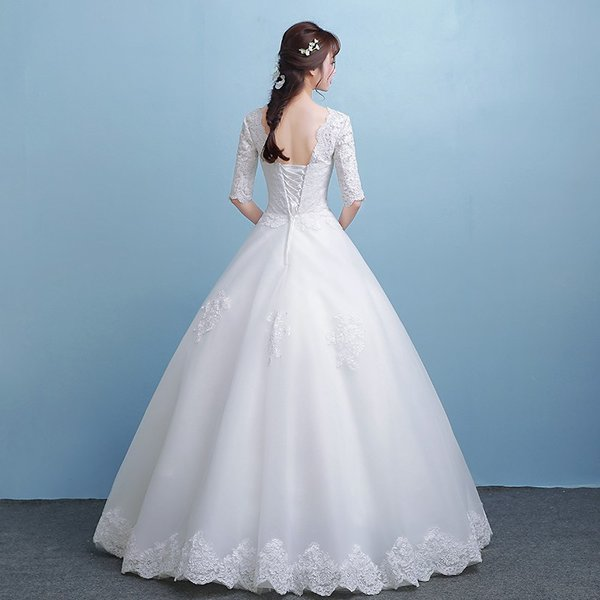 034eb54fde9e4 ... ウェディングドレス 花嫁 ウエディングドレス 白 格安 袖あり レース ブライダル wedding dress 結婚式 プリンセス ...