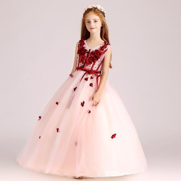 9d5bc98d8db17 子供ドレス ピアノ発表会 ピンク キッズドレス 披露宴 ロングドレス 入園式 子どもドレス 結婚 ...