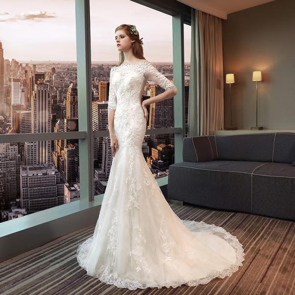 2f39d61c60672 ウエディングドレス マーメイドドレス 長袖 白 二次会 安い 花嫁 結婚式 ロングドレス wedding dress  ...