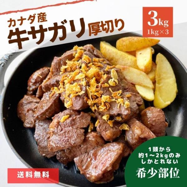 牛肉 厚切り サガリ 3kg (1kg×3パック) まとめ買い 肉 冷凍 冷凍食品 カナダビーフ 牛 ホルモン スライス 焼肉 バーベキュー BBQ ステーキ