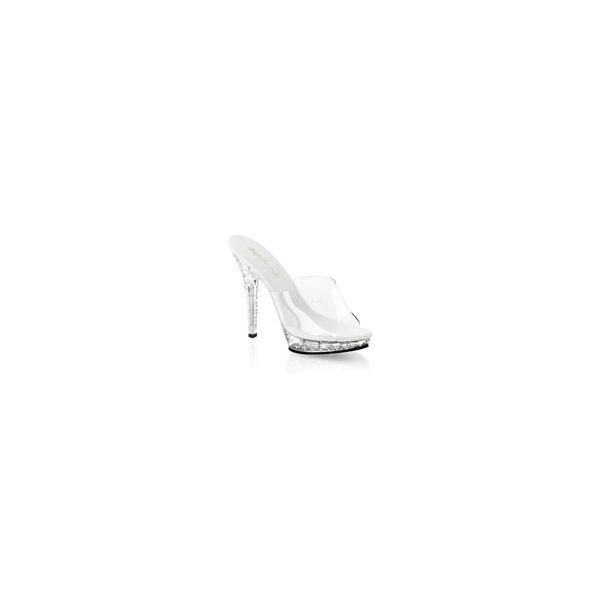 """ミュール サンダル Pleaser プリーザー Fabulicious LIP-101SDT 5"""" Heel (lip101sdt-c-m) クリアー ラインストーン レディース 靴 お取り寄せ商品"""