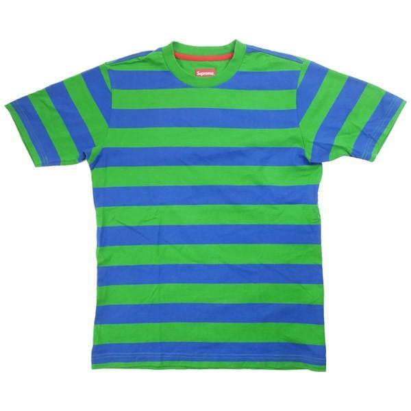 2109b200f184 シュプリーム SUPREME ボーダー柄Tシャツ 緑 Size【S】 【中古品-良い