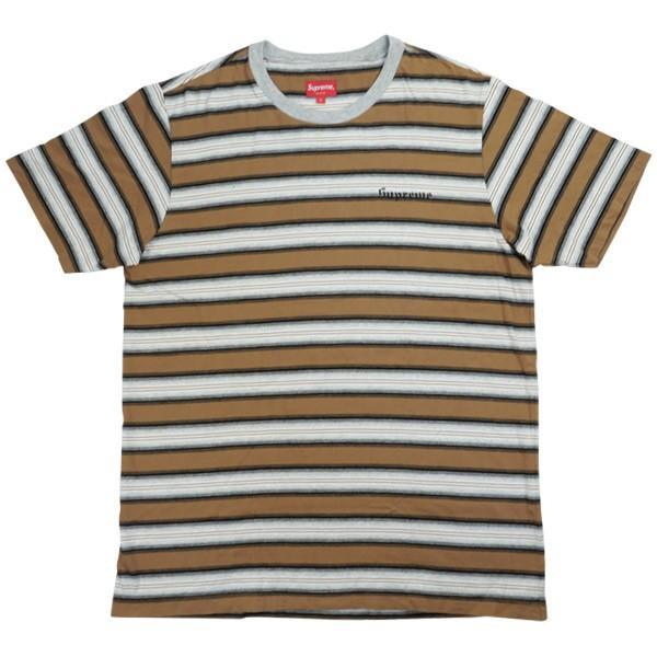 fbf32df7dd0f シュプリーム SUPREME 17SS Shadow Stripe Tee ボーダー柄Tシャツ 茶 Size【L】 【