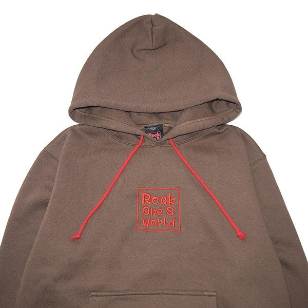 ROCK ONE'S WORLD ロックワンズワールド SQUARE LOGO embroidery HOODIE|steelo|02