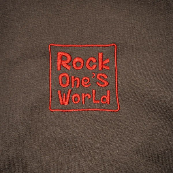 ROCK ONE'S WORLD ロックワンズワールド SQUARE LOGO embroidery HOODIE|steelo|03