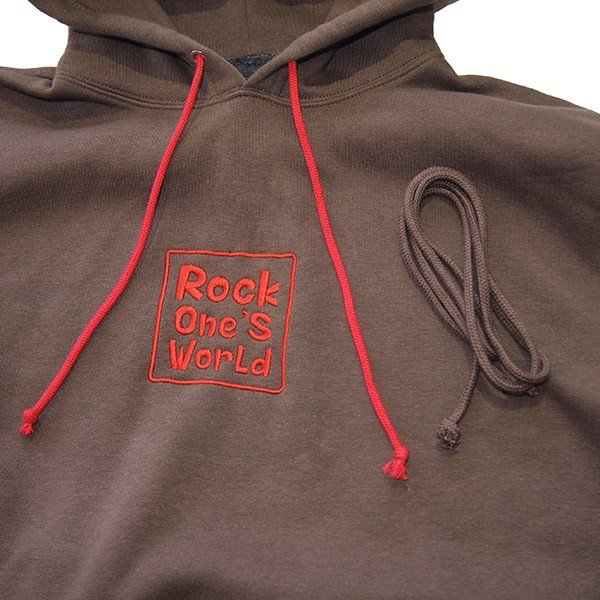 ROCK ONE'S WORLD ロックワンズワールド SQUARE LOGO embroidery HOODIE|steelo|04