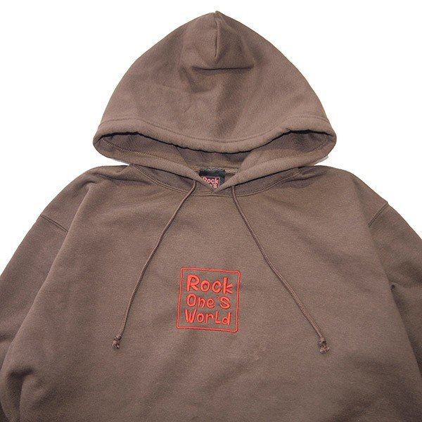 ROCK ONE'S WORLD ロックワンズワールド SQUARE LOGO embroidery HOODIE|steelo|05