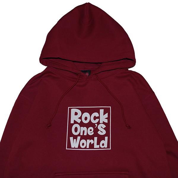 ROCK ONE'S WORLD ロックワンズワールド SQUARE LOGO HOODIE|steelo|02
