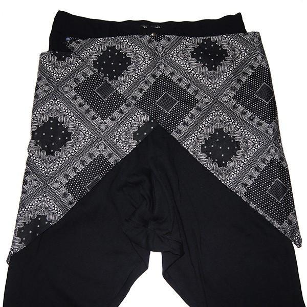 ZEPHYREN ゼファレン WAIST CLOTH SAROUEL PANTS BLACK|steelo|02