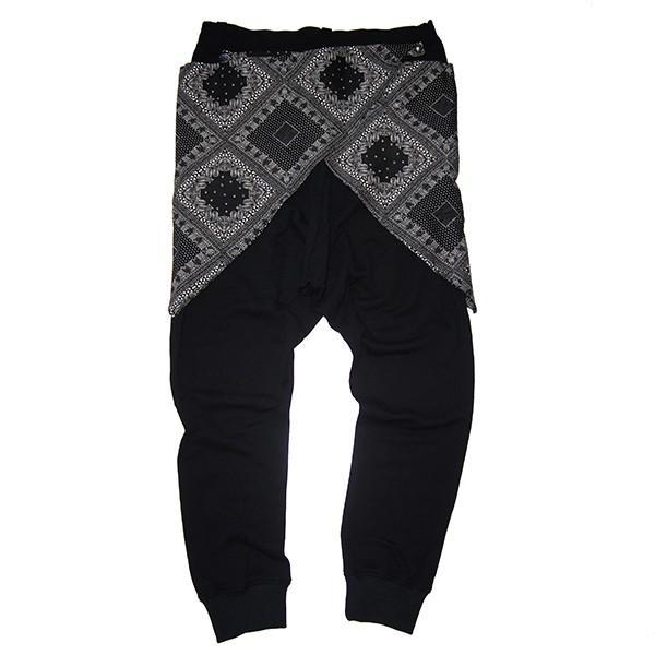 ZEPHYREN ゼファレン WAIST CLOTH SAROUEL PANTS BLACK|steelo|03