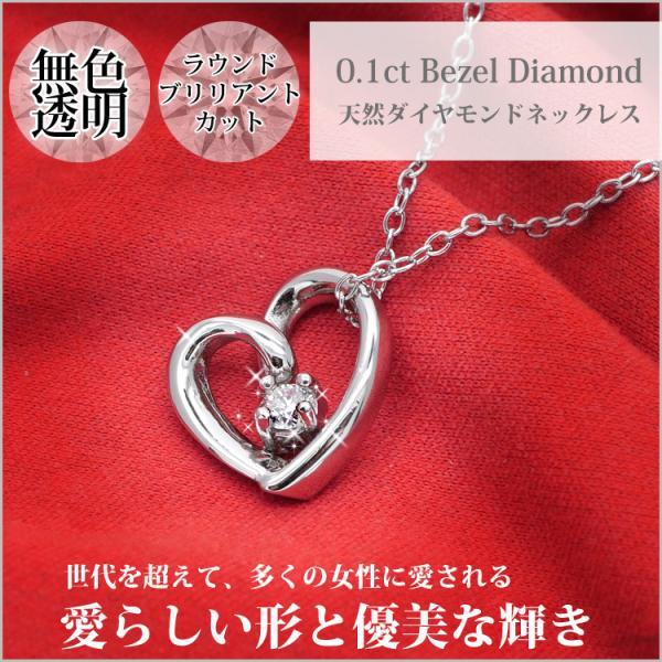 ダイヤモンド ネックレス 一粒 オープンハートダイヤモンドネックレス 金属アレルギー サージカルステンレス stency-nana 02