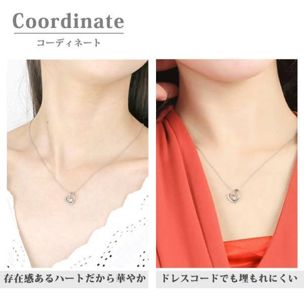 ダイヤモンド ネックレス 一粒 オープンハートダイヤモンドネックレス 金属アレルギー サージカルステンレス stency-nana 09