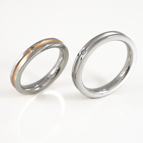 リング 指輪 ステンレス 金属アレルギー対応 ペア 2本セット vie グルーブデザインダイヤモンドリング レディース メンズ|stency-nana|02