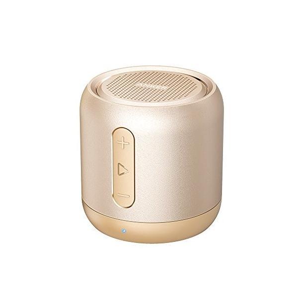 Anker SoundCore mini コンパクト Bluetoothスピーカー 【15時間連続再生/内蔵マイク搭載/micro SDカード & FMラジオ対応】 (ゴールド)|steppers