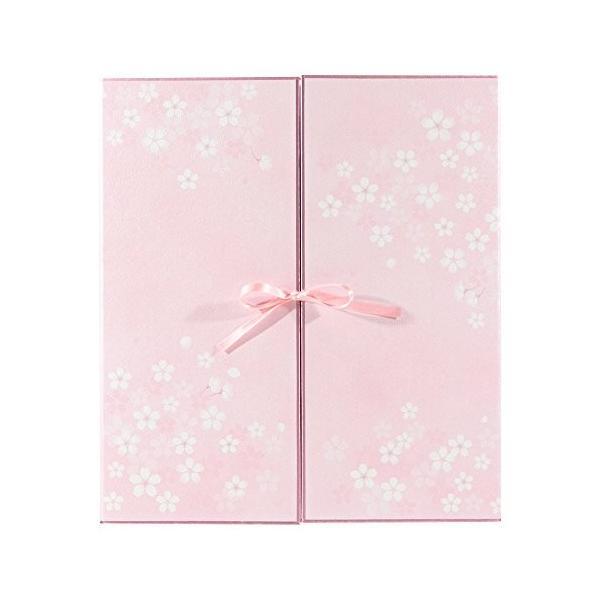ミドリ 色紙 両開き カラー色紙 リボン 桜柄 33146006|steppers
