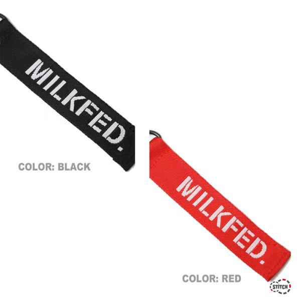 MILKFED. ミルクフェド JACQUARD TAPE FLAT POCKET SHOULDER BAG MINI 03191017 ショルダーバッグ スクエア型 ブラック レッド レディース 正規取扱店 新品
